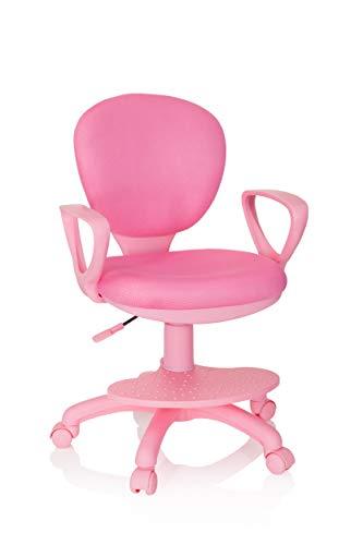 hjh OFFICE 670977 Kinderdrehstuhl Kid Colour Stoff Pink Schreibtischstuhl Kinder, Fußablage & Sitzfläche höhenverstellbar