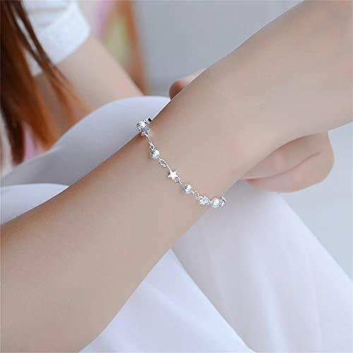 Pulseras de estrella de bola hueca de cadena de plata Pulseras de moda de plata Joyería fina para mujer Accesorio elegante de fiesta