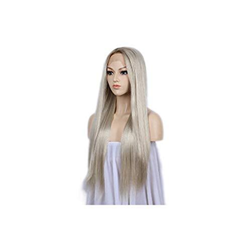 LEZDPP Perruque Blonde en Dentelle Perruque d'avant, Mesdames Brown Roots naturellement Droite Longue Perruque Blond Fever