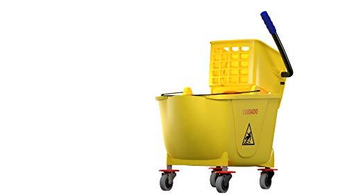 OVAL Cubeta con exprimidor Capacidad de 32 litros Color amarillo 4 llantas Alta durabilidad…