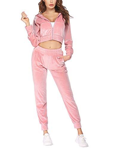 COOrun Velour Tracksuit Womens Crop Top Sweatsuits Velvet Tracksuit Pink
