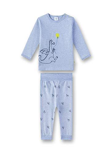 Sanetta Baby-Jungen Pyjama Zweiteiliger Schlafanzug, Blau (Oxford Mel 50252), 80 (Herstellergröße: 080)