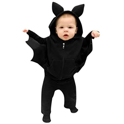 Riou Fledermaus kostüm Kinder Halloween Kostüm Neugeborenes Baby Jungen Mädchen Karneval Fasching Party Cospaly Costume Babykostüme Bat Cartoon Kapuzenjacke Mantel Babykleidung Outfits Set (90, D)