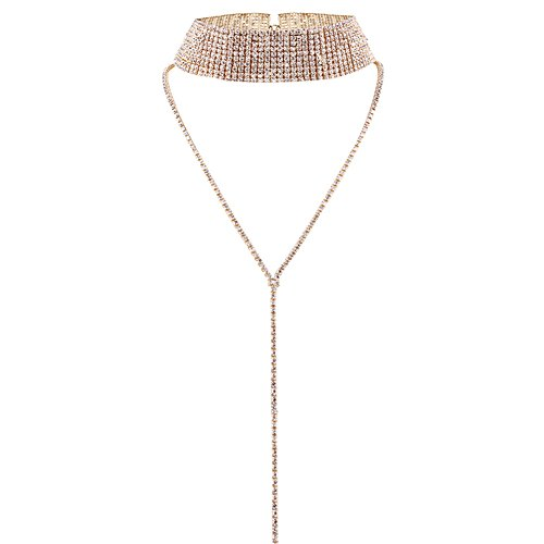 Elegant Rose Multi-rows Rhinestones Choker Necklace Round Neck Long Sweater Pendant Adjustable Necklace Jewelry for Ladies Women (Gold)