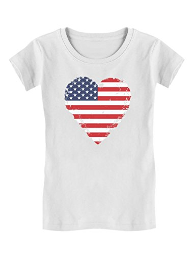 Love USA 4th of July American Heart Flag Toddler Kids Girls' Fitted T-Shirt 3T White