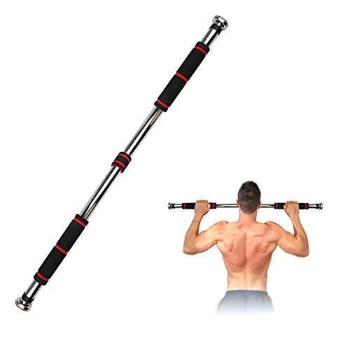Umisu - Barra di trazione, per la porta e la barra di fitness, regolabile, antiscivolo, per esercizi di allenamento per la muscolatura, schiena, braccia, in casa, ufficio, 80-130 cm