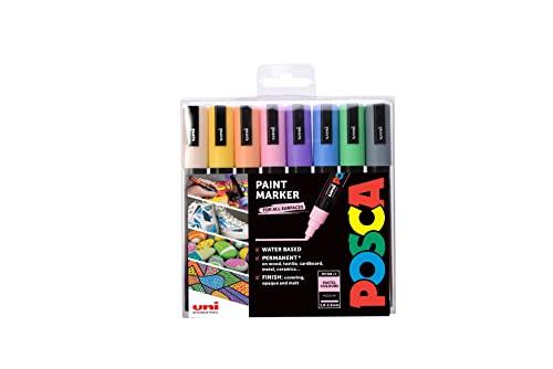 """POSCA 153544854 PC-5M """"Pastel Paint in a Pen""""-Set, 2,5 mm breite Kugelspitze, wasserbasierte Filzstifte, 8 Farben"""