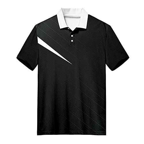MJDSVWCS Asual Black Herren Tennis Business Bodybuilding 3D Sport Abnahmekragen Tshirt V01411 4XL