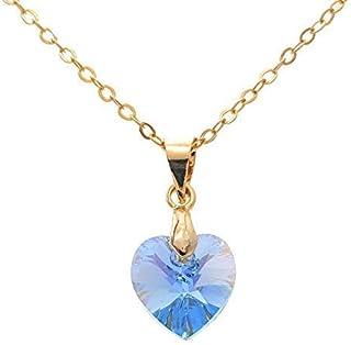 Collar de Piedra del mes Diciembre color Topacio Azul con corazón de Swarovski - Regalo De Cumpleaños - December blue Topa...