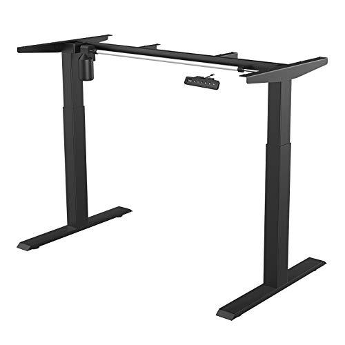 MAIDeSITe - Marco de escritorio de pie eléctrico ajustable en altura, escritorio de 2 etapas con un solo motor Escritorio de pie de acero resistente con panel inteligente de memoria automática (negro)