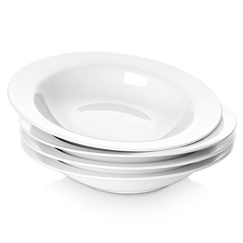 20 Ounce Porcelain Rimmed Soup Bowls, 9.5 Inches