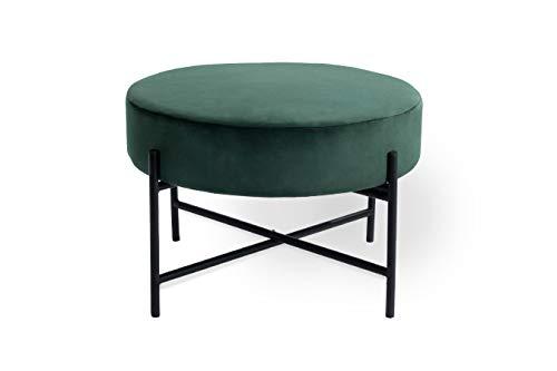 LIFA LIVING Grüner Samt Pouf Ø 55 cm, Runder Sitzpouf aus Samt, moderner Sitzhocker aus Samt und Metall, Fußhocker in Flaschengrün, Dunkelgrüner Samthocker