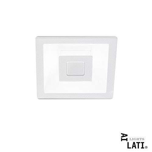 Ai Lati Lights Eclipse Bianco LED 7+7W 3000K Faretto Incasso Quadrato Luce Diretta Indiretta - DUE ACCENSIONI