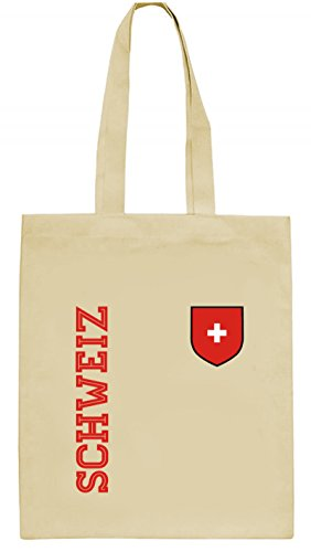 Swiss Fußball WM Fanshirt Gruppen natur Jutebeutel Stoffbeutel Tote Bag Fan Trikot Schweiz, Größe: onesize,natur