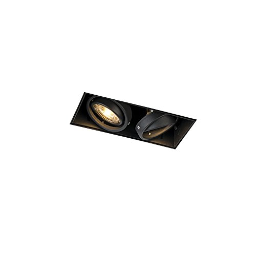 QAZQA Modern Einbaustrahler schwarz drehbar und kippbar trimmlos 2-Licht - Oneon 2 / Innenbeleuchtung/Wohnzimmerlampe/Schlafzimmer/Küche Stahl Rechteckig LED geeignet GU10 Max. 2 x 50 Watt