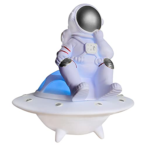 HGFDSA UFO Astronaut Luminous Bluetooth Speaker Nuevo Regalo Creativo, Altavoz Inalámbrico con Luces, Altavoz De Decoración De Regalo De Cumpleaños,Plata