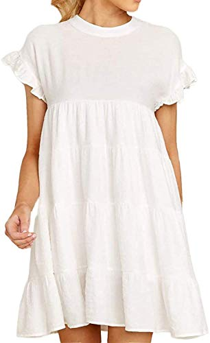 Women's Casual Summer Short Sleeve Ruffle Hem Babydoll Loose Mini Dress,White,Small