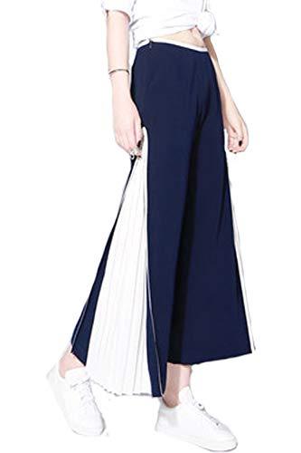 Pantalones Largos De Mujer Plisado Pierna Ancha Gasa Palazzo Mode De Marca...