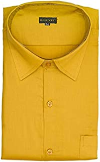 BLUEPOCKET Formal Shirt for Men. Cotton-Satin, Regular Fit, Rounded Hemlines(Yellow/Gold)