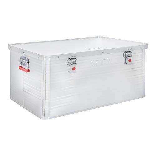 STIER Alubox, Aluminiumbox 135L, Staub- und spritzwasserresistent mit Gummidichtung und 2 Klapphandgriffen
