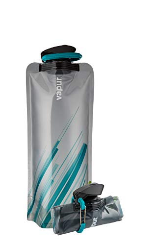 Vapur Element Flexible Water Bottle - with Carabiner, 1 Liter (33 oz) - Grey & Teal