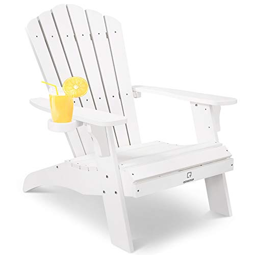 OT QOMOTOP Oversized Poly Lumber Adirondack Chair with Cup...