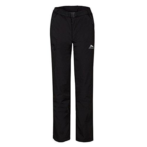 CIKRILAN Homme Pantalon Softshell Doublé Polaire Coupe Vent Imperméable Outdoor Sport Pantalons de randonnée Camping (Medium, Noir)