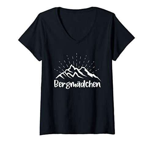 Damen Bergmädchen Berge Bergsteigerin Wanderin T-Shirt mit V-Ausschnitt