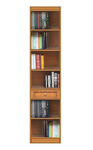 Arteferretto Meuble bibliothèque Haute avec étagères et tiroir, bibliothèque étroite en Bois