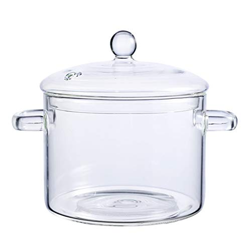 AWYGHJ 46oz Glass Soup Bowl, Heat Resistant Borosilicate Glass Cooking Pot with Lid, Microwave Dishwasher Oven Safe, for Noodles, Soup, Cereals, Fruits