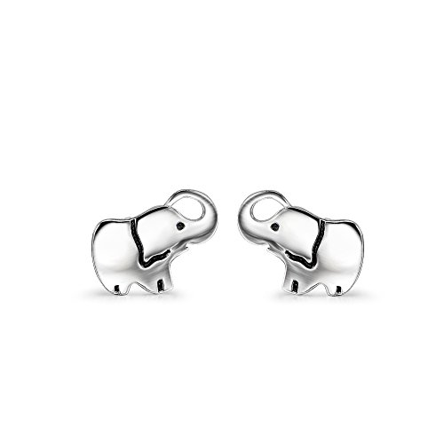 Pendientes de tuerca para mujeres y niñas, plata de ley 925, diseño de elefante