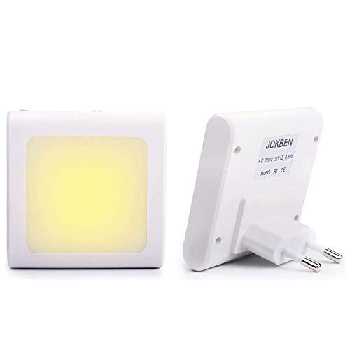 2 Stück LED Nachtlicht Steckdose mit Dämmerungssensor, Helligkeit Stufenlos Einstellbar Energiesparend Baby Licht Automatisch Orientierungslicht Warmweiß 2700K