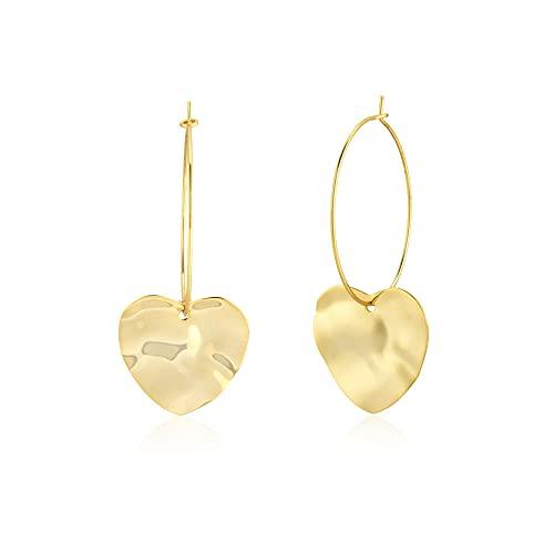 100% 925 anillo de corazón grande de plata y oro para piercing colgante amor mujeres moda delgado gran joyería de boda-aro de oro