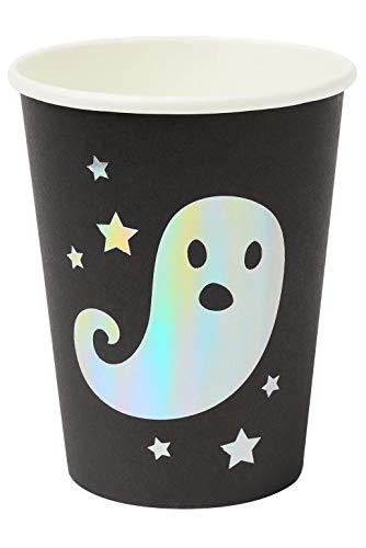 Smiffys Tableware, Ghost Cups x8 Vajilla de Halloween, 8 vasos fantasmas, color negro/plateado, Talla nica (39690)