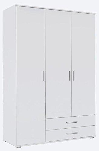 Kleiderschrank Ramona 3 Türen + 2 Schubladen weiß B 127 cm H 188 cm Kinder Jugend Schlafzimmer Holz Drehtüren Wäscheschrank