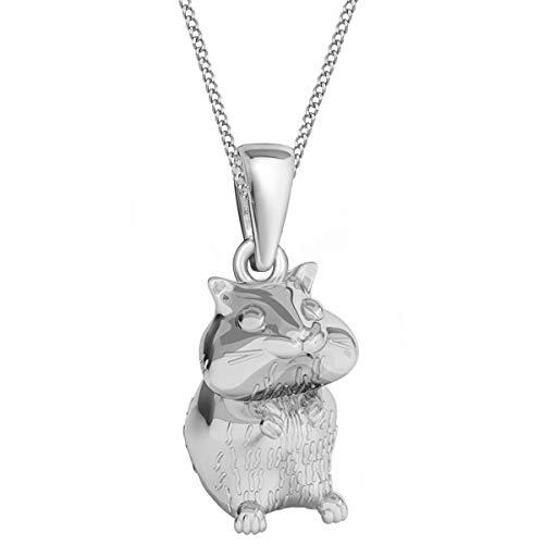 3d Hamster Brisur Ohrringe Kette 925 Echt Silber Kinder Mädchen Damen Maus Set (Anhänger + Kette 38cm)