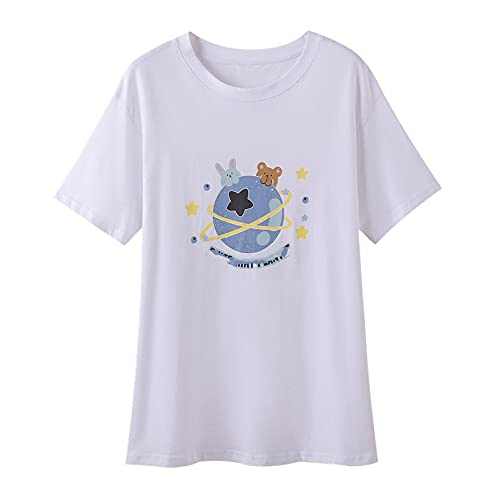 N\P cuello redondo impreso manga corta camiseta de las mujeres de las mujeres de tamaño flojo de la camiseta de la mujer de la media manga de la camiseta