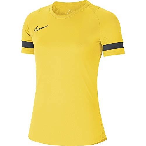 NIKE Camiseta de Entrenamiento para Mujer Academy 21, Mujer, CV2627-719, Amarillo Negro Gris Oscuro Negro, Extra-Large