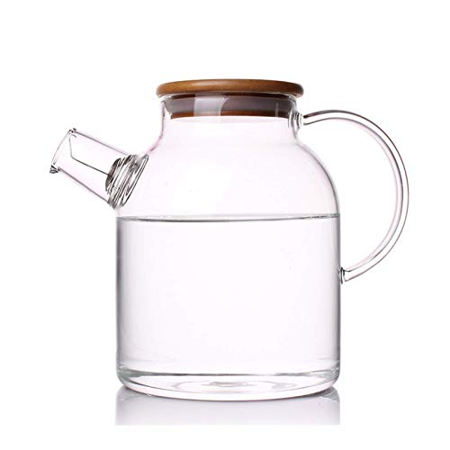 Glass Pitcher with Lid,Glass Carafe with Handle and Spout,for Iced Tea Juice Lemonade Sangria Fruit Water,Glass kettle