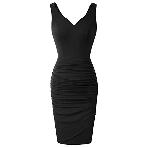 Mujer Vestido Ajustado sin Manags de Plisado con Escote Corazón de Verano para Fiesta XL Negro CLS02497-1