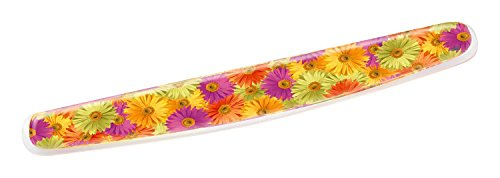 3M Gel Wrist Rest for Keyboards, Soothing Gel Comfort with Durable, Easy to Clean Cover, 18', Fun Daisy Design (WR308DS)