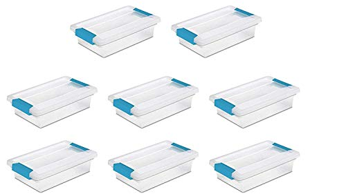 STERILITE Clip Box, Clear Lid & Base w/Colored Latches (Small, 8 Pack)