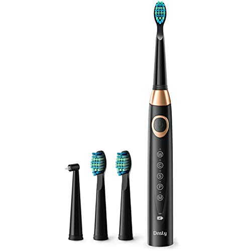 Electric Toothbrush for Adults with 5 Deep Cleaning Modes, Smart Timer, Dentists Recommend Sonic Whitening Toothbrush & Wireless Charging with 30 Days Battery Life, 3 Brush Heads Black by Dnsly