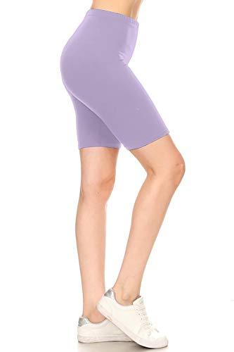Leggings Depot LBKX128-LAVENDER-3X High Waist Solid Biker Shorts, 3X Plus