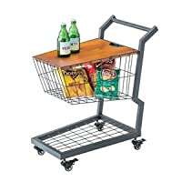 ショッピングカート型サイドテーブル/ミニテーブル 【幅36cm】 スチール×木製 収納/キャスター付き PW-405