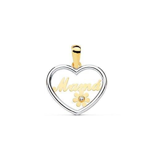 Colgante de Oro Bicolor Corazon'Mama' con Flor y circon (9kts)