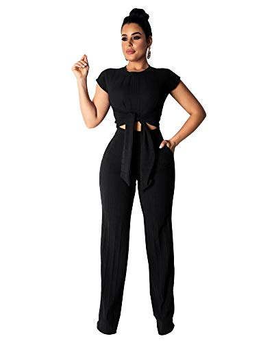 2 Piece Outfits for Women Crop Top and High Waist Long Pants Tracksuit Set Black