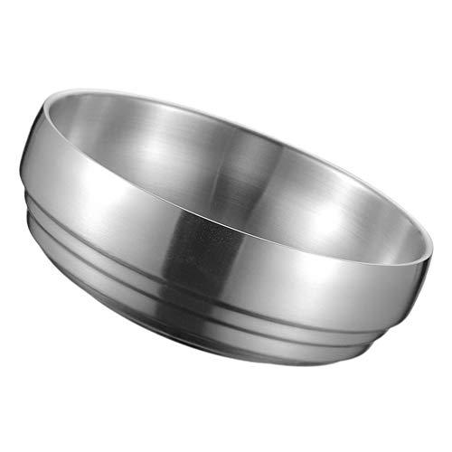 TOPBATHY Bol de acero inoxidable de metal para servir arroz, cereales, cuencos antiquemaduras, cuenco aislado para aperitivos, ensalada para cocina, servir palomitas de maíz de 19 cm