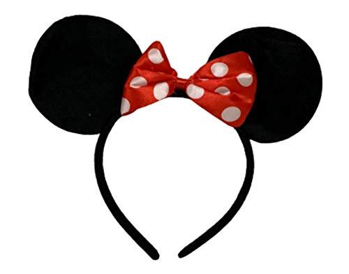 Diadema de orejas de Minnie Mouse, color negro con lazo rojo y lunares blancos.