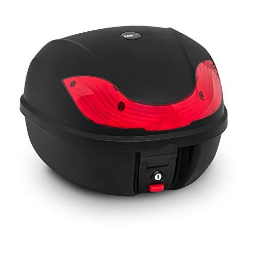 MSW Caja para Moto Baúl De Motocicleta MSW-MC38L3 (con Cerradura y Llave de Repuesto, Volumen de 38 L, Diseño Deportivo)